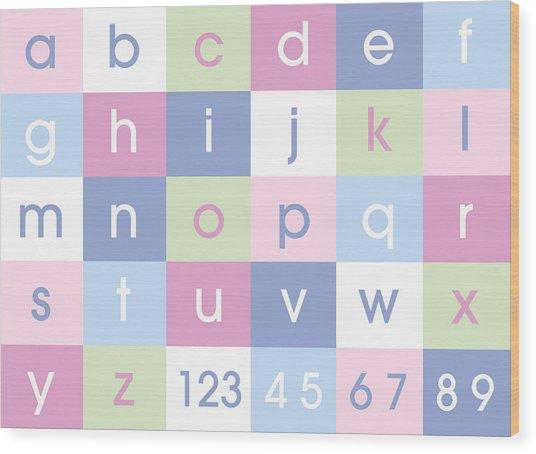 Alphabet Pastel Wood Print