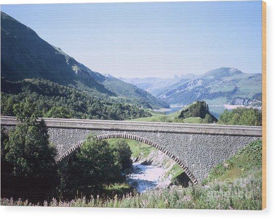 Alpine Bridge With Lake Wood Print