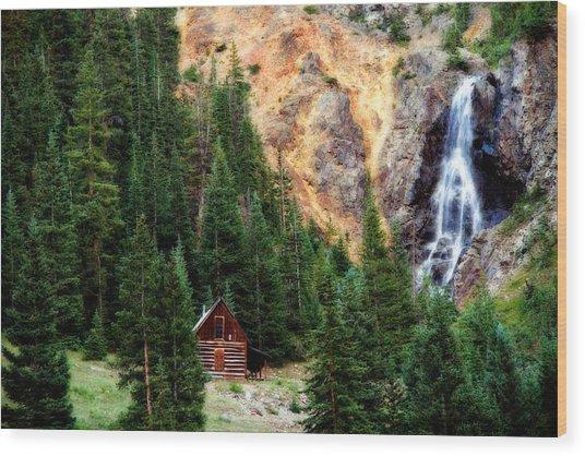 Alpine Cabin Wood Print
