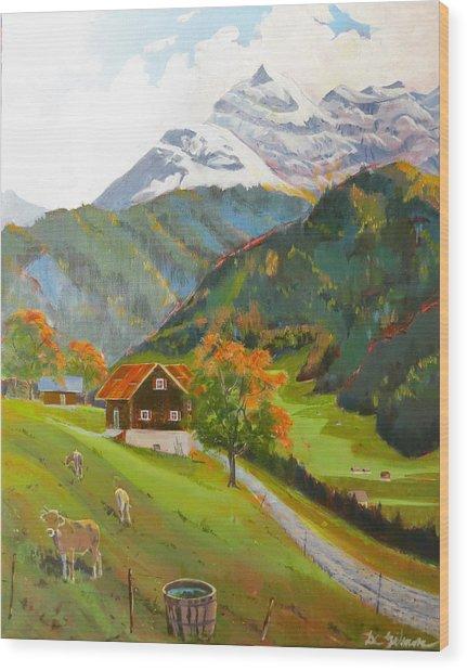 Alpine Farm Near Buerglen In Canton Uri Wood Print