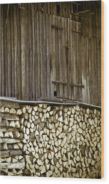 Alpine Firewood Storage Barn Wood Print