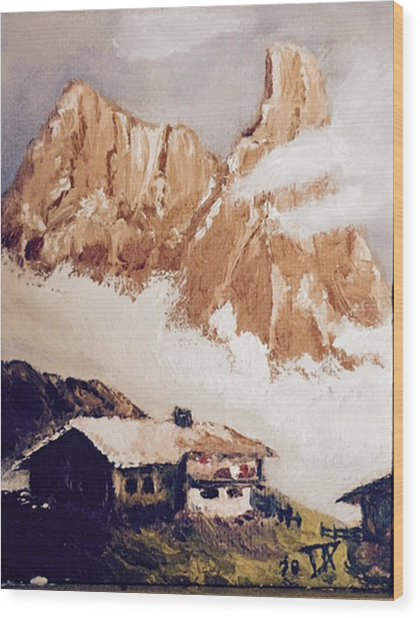 Alpine Home  Wood Print