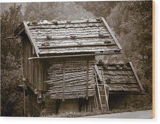 Alpine Hut Wood Print by Frank Tschakert