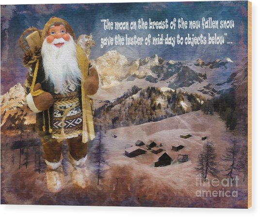 Alpine Santa Card 2015 Wood Print