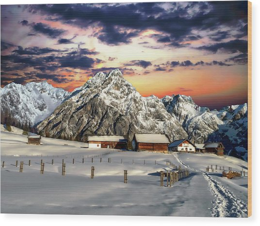 Alpine Winter Scene Wood Print
