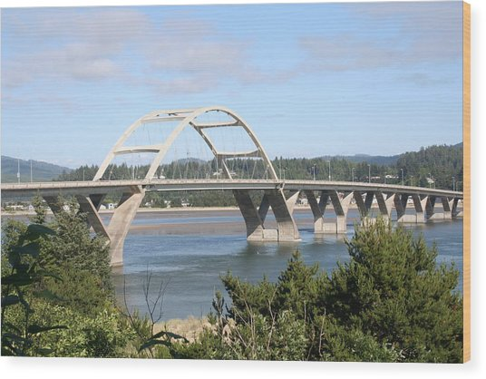 Alsea Bridge Br 7002 Wood Print by Mary Gaines