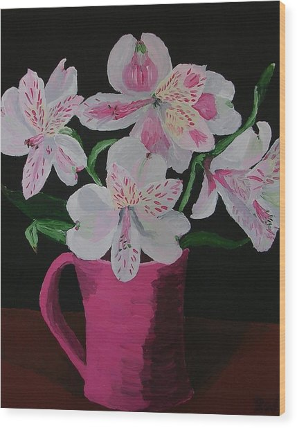 Alstroemeria In Mug Wood Print