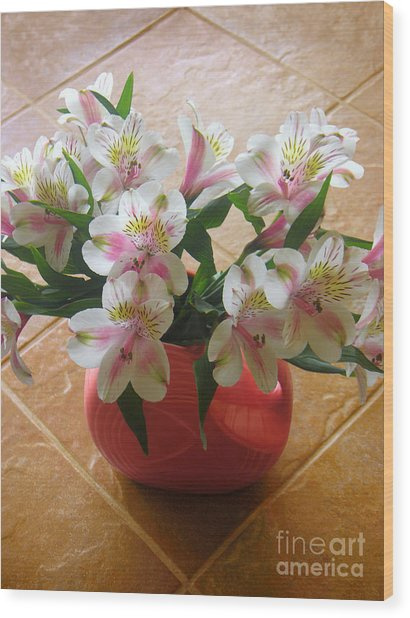 Alstroemerias In The Light Of Day Wood Print by Lucyna A M Green