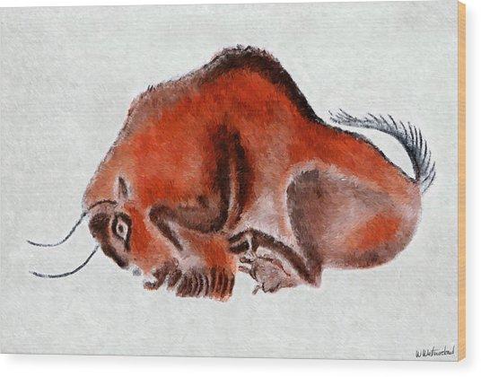 Altamira Prehistoric Bison At Rest Wood Print