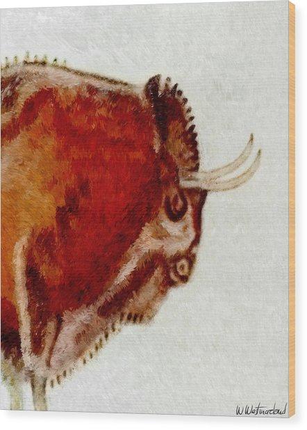 Altamira Prehistoric Bison Detail Wood Print