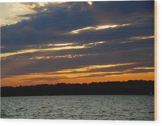 Alum Creek Sunset Wood Print