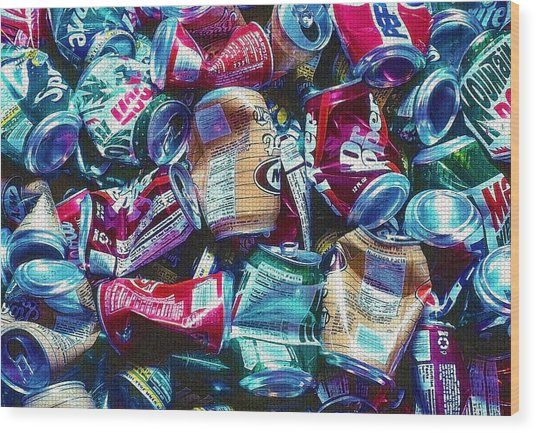 Aluminum Cans - Recyclables Wood Print by Steve Ohlsen