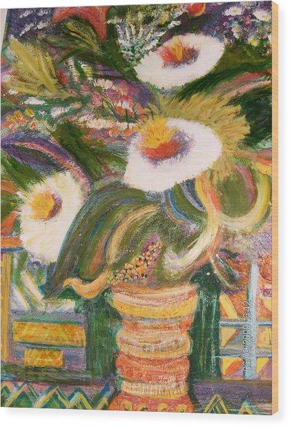 Always Blooming Bright And Happy Flowers Wood Print by Anne-Elizabeth Whiteway