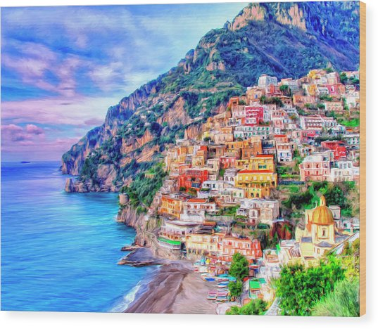 Amalfi Coast At Positano Wood Print