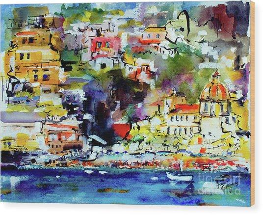 Amalfi Coast Positano Summer Vibrations Wood Print