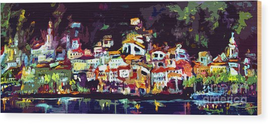 Amalfi Italy At Night Panoramic Wood Print