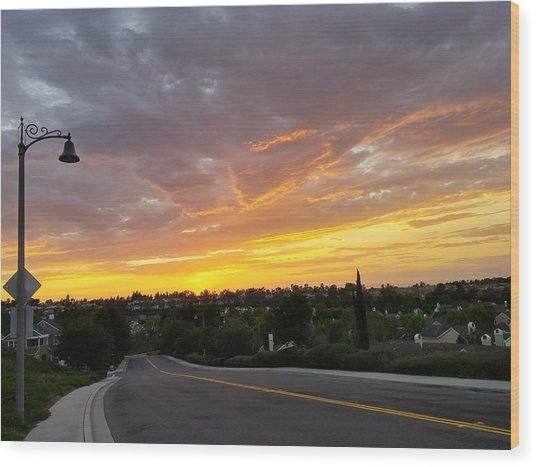 Colorful Sunset In Mission Viejo Wood Print