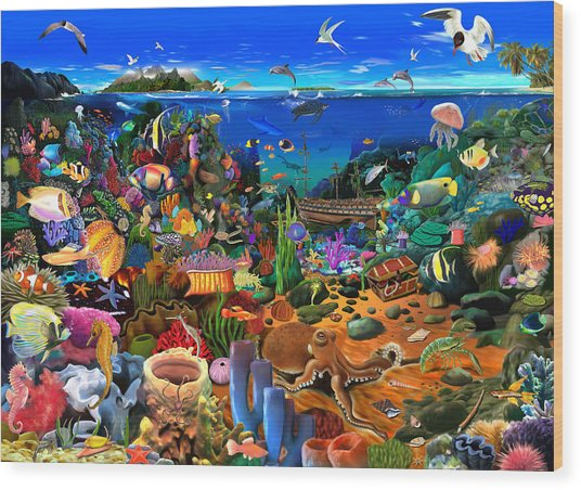 Amazing Coral Reef Wood Print