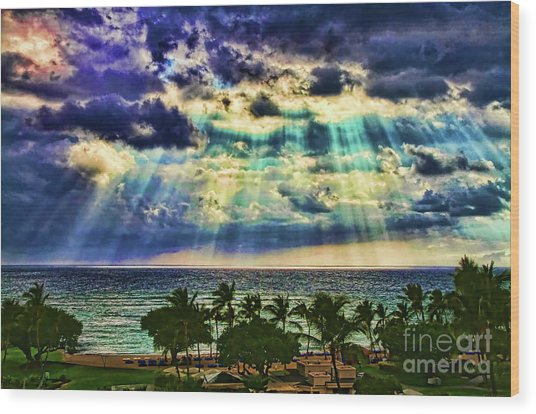 Amazing Grace - Sun Rays Before Sunset By Diana Sainz Wood Print
