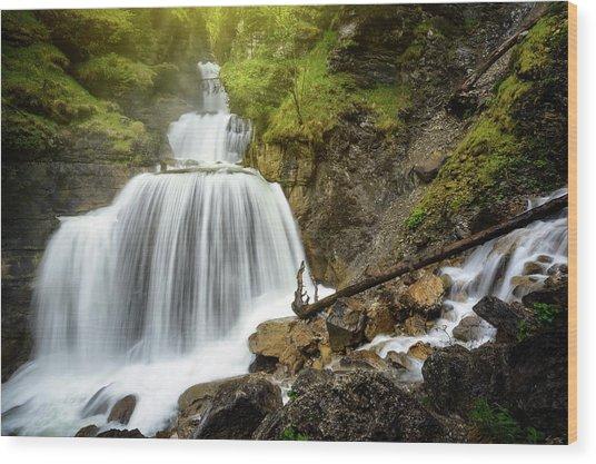 Amazing Mountain Waterfall Near Farchant Village At Garmisch Partenkirchen, Farchant, Bavaria, Germany. Wood Print