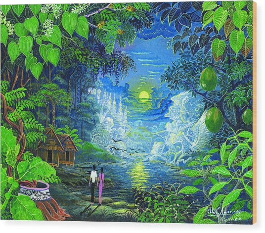 Wood Print featuring the painting Amazonica Romantica by Pablo Amaringo