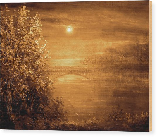 Amber Bridge Wood Print by Ann Marie Bone