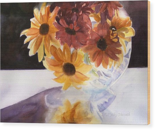Amber Mums Wood Print by Kathy Nesseth