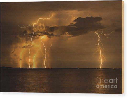 Amber Rain Wood Print