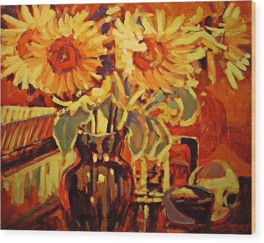 Amber's Sunflowers Wood Print by Brian Simons