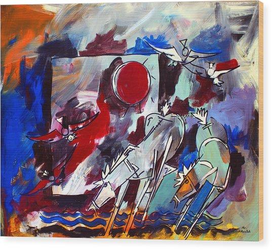 Ameeba 36-horses By The Sea 2 Wood Print