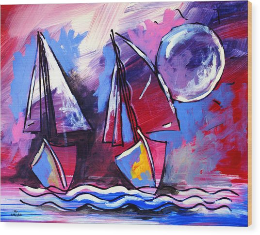 Ameeba- Sailboats 2 Wood Print