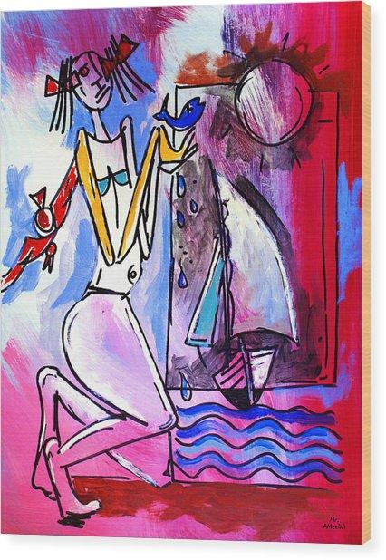 Ameeba- Woman And Sailboat Wood Print