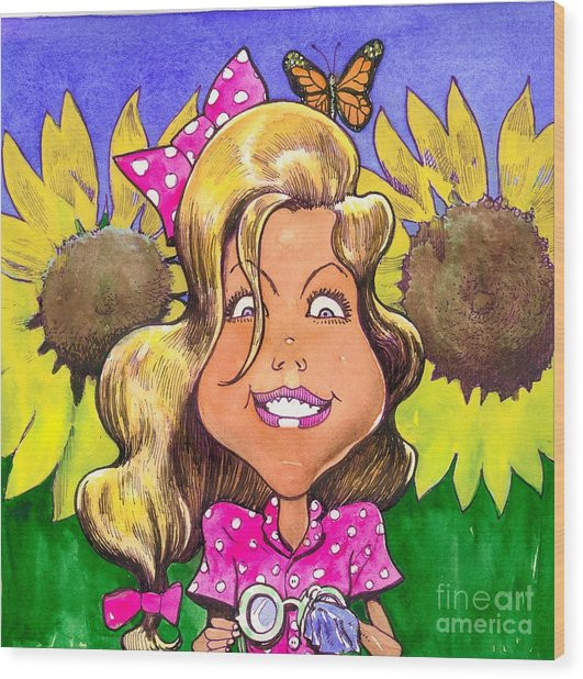 Amelia In Sunflowers Wood Print by Robert  Myers