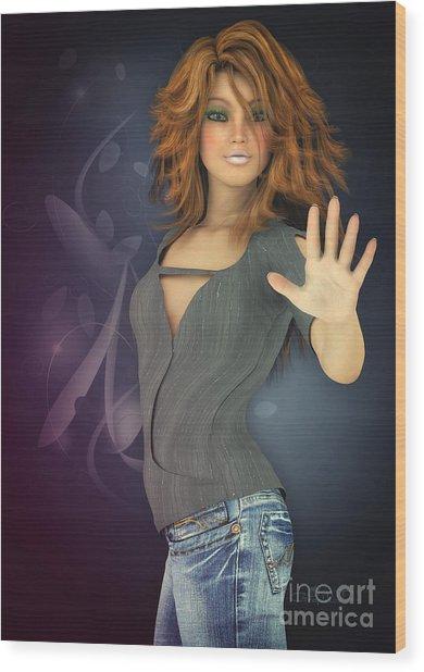 Amelie In Jeans Wood Print