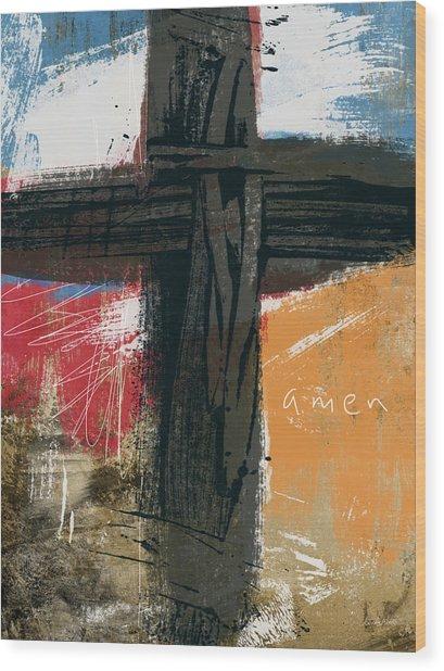 Amen Contemporary Cross- Art By Linda Woods Wood Print