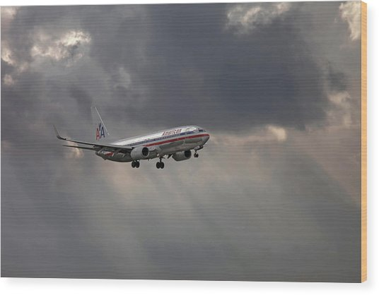 American Aircraft Landing After The Rain. Miami. Fl. Usa Wood Print