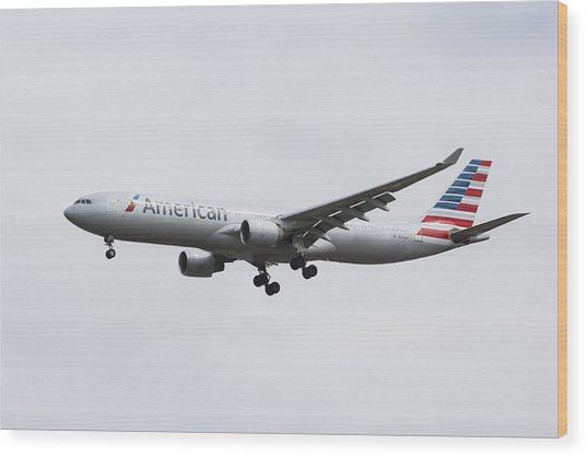 American Airlines Airbus A330 Wood Print