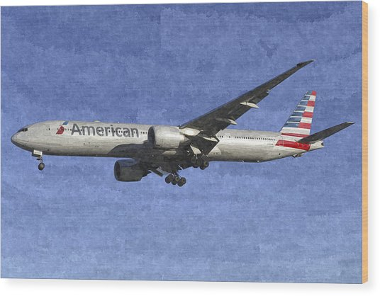 American Airlines Boeing 777 Aircraft Art Wood Print