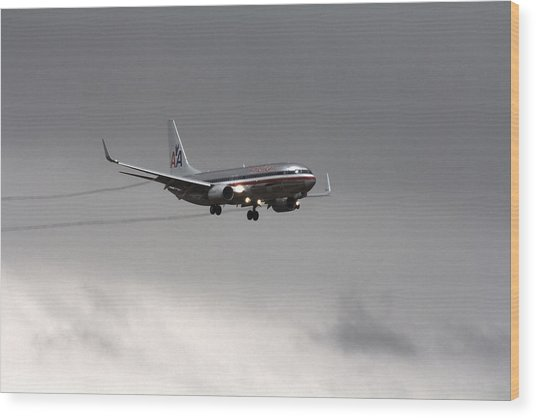 American Airlines-landing At Dfw Airport Wood Print
