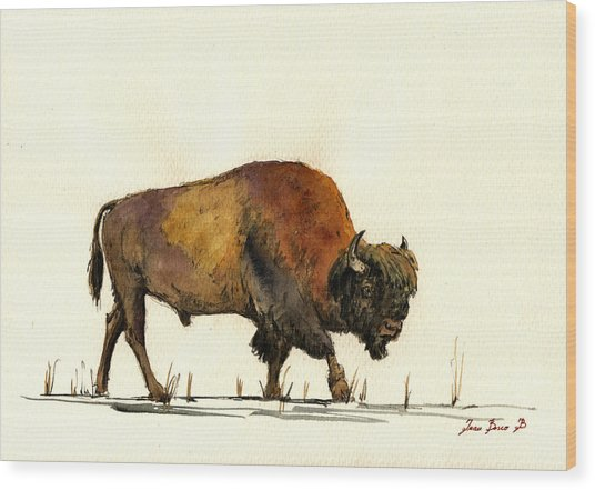 American Buffalo Watercolor Wood Print