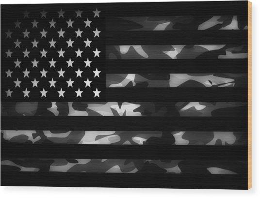 American Camouflage Wood Print