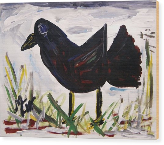 American Crow Wood Print by Mary Carol Williams