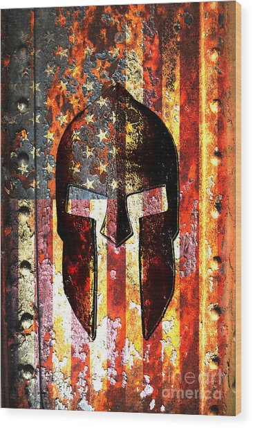 American Flag And Spartan Helmet On Rusted Metal Door - Molon Labe Wood Print