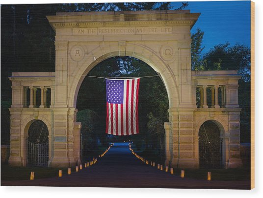 American Flag At Cemetery Gates - Mystic Ct Wood Print