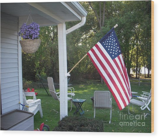American Flag Wood Print by Deborah Finley