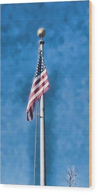 American Flag 'painted' Wood Print