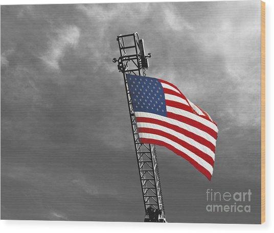 American Flag On A Fire Truck Ladder Wood Print by Mark Hendrickson