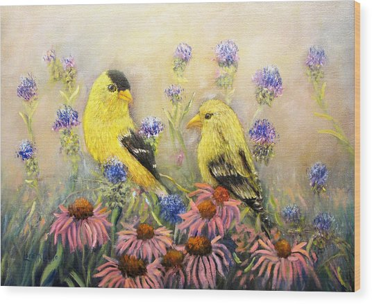 American Goldfinch Pair Wood Print