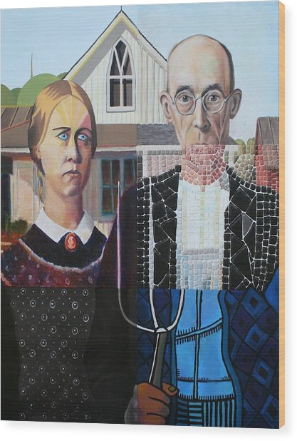 American Gothic After Grant Wood In Six Styles Wood Print