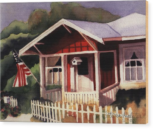 American Home Wood Print by Patricia Halstead